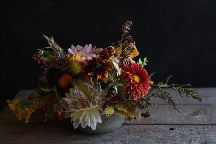 February Wedding, Centrepiece, Table flowers, red, cream, pink, autumn colours, rustic, Dahlias, Rudbeckia, Rose hips, grasses, nasturtium