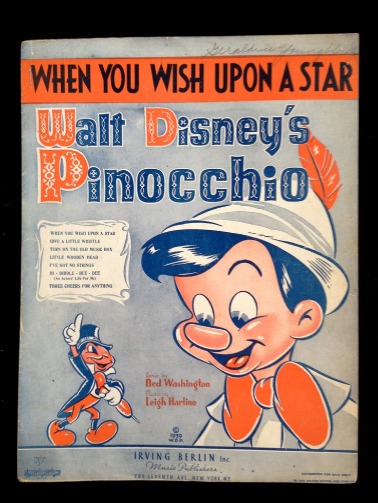 Vintage First Edition Sheet Music for Walt Disney's Pinocchio 'When You Wish Upon a Star,' 1940 Irving Berlin Publishing