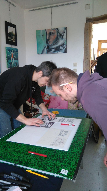 """Atelier sérigraphie à """" la baraque"""""""