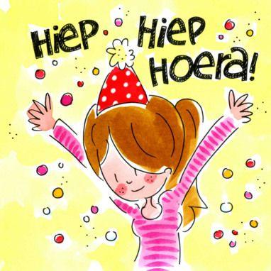 Hiep hiep hoera! (meisje dansend tussen confetti) - Blond Amsterdam