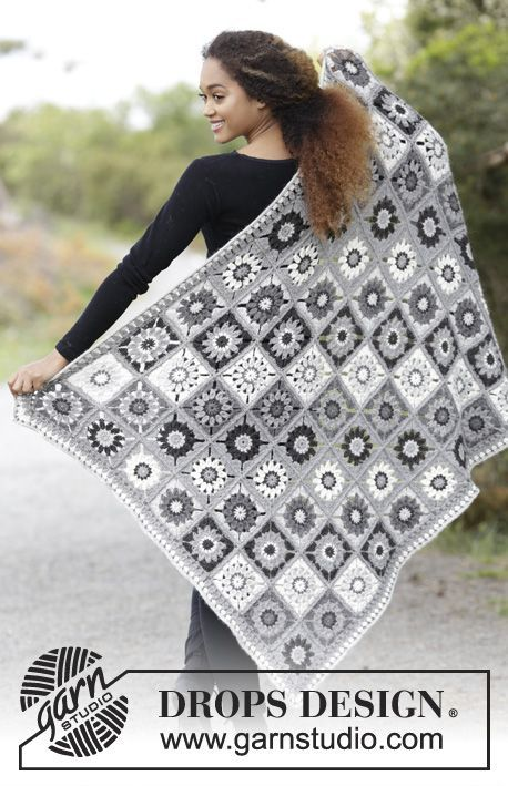 Margarita / DROPS 179-5 - Blanket with crochet squares.  Piece is crocheted in DROPS Puna.