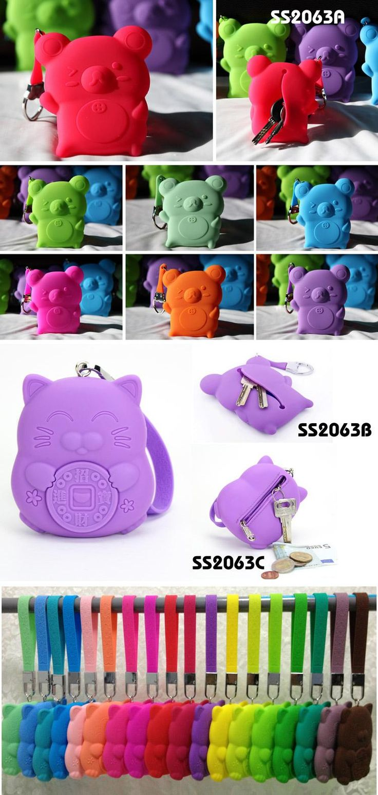 Relax Bear/Cat silicone key case or purse  Specification: 9.5x11.5cm  Description:  Key and change dual-use bag with zipper closer on back www.ideagroupigm.com