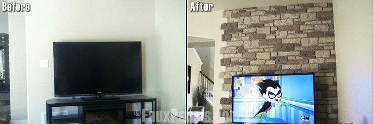 Faux rock panels for fireplace in family room