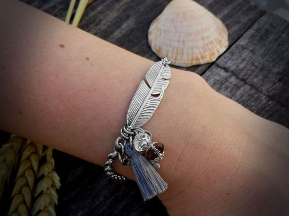 Feather Silver Bracelet Tassel Bracelet Stainless by DreamcJewelry