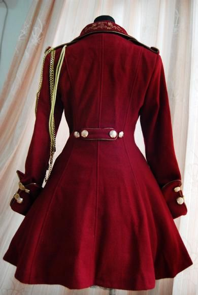 Red Steampunk Military style coat...back view.