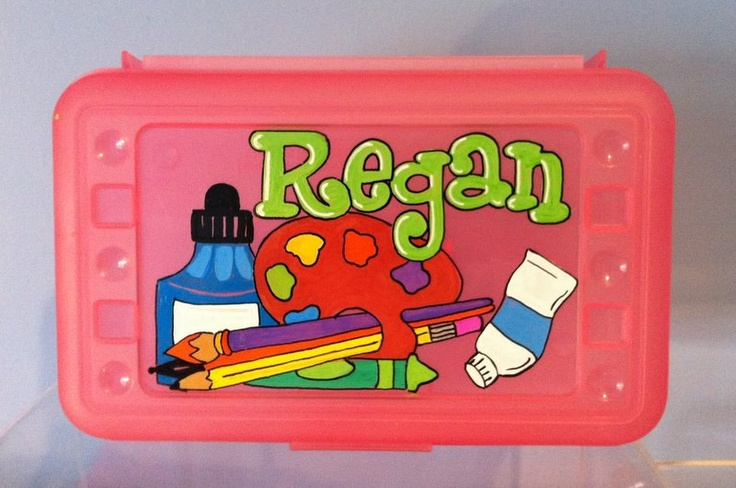 Personalized pencil boxes /art supply boxes. $7.95, via Etsy.