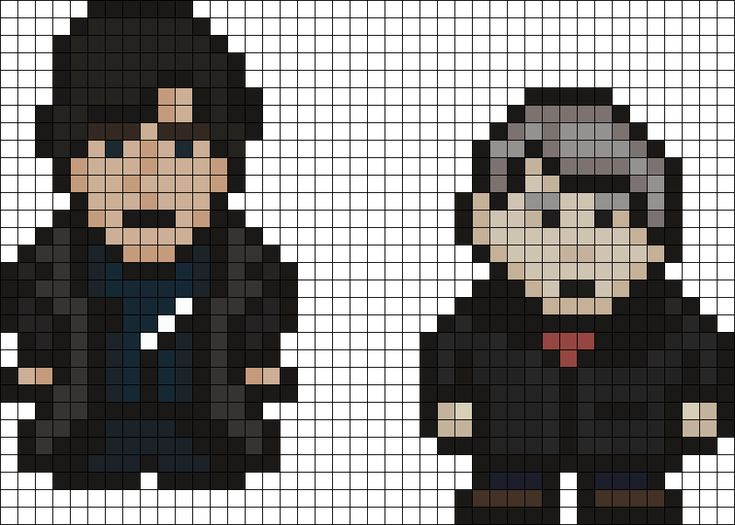Sherlock And John bead pattern<<<Bcause, ya'know, everyone needs a sherlock shrine in your minecraft world!!