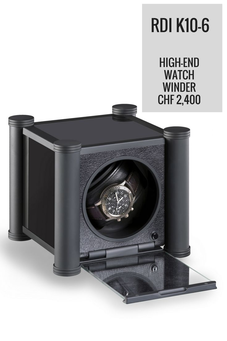 The cool all-black K10-6 watch winder by RDI Charles Kaeser is a high-end item that is built to last and keep your luxury watches optimally wound when you are not wearing them. It works on mains electricity or batteries.