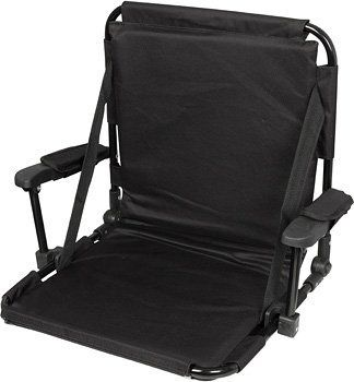 Black Stadium Chair with Stadium Hooks, Arm Pads - By Trademark Innovations by Trademark Innovations. $27.99. From the Manufacturer Black Stadium Seat by Tailgate360. Our premium stadium seat features a black aluminum construction, 4 stadium hooks to securely fasten the chair to bleachers, a pocket on the back that clips shut for storage. Additionally the chair features padded arm rests, along with back and leg padding. The chair opens to a comfortable a...