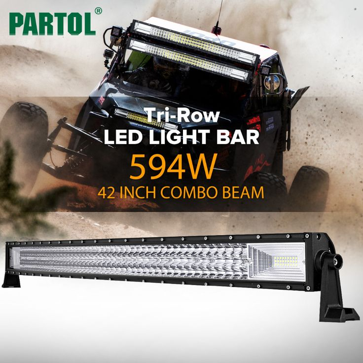 Partol 42 Inch 594W Tri-Row Curved LED Light Bar //Price: $233.90 & FREE Shipping //     #dashcam