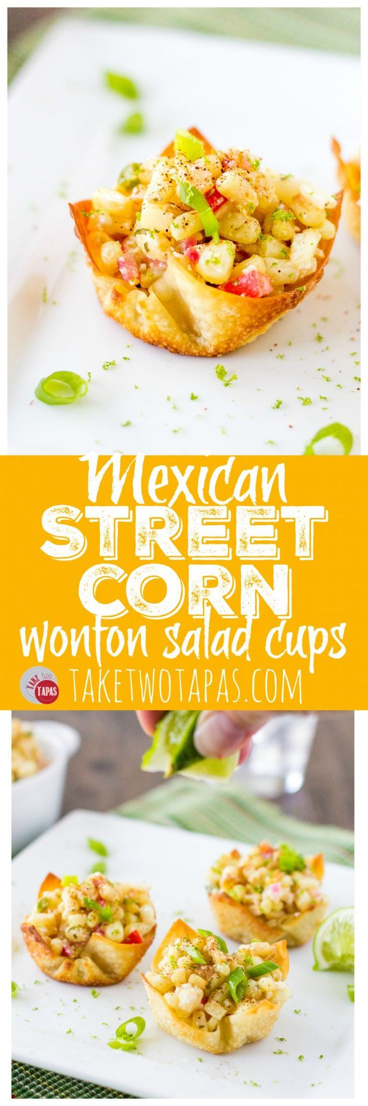 These Mexican Street Corn Salad Wonton Cups are the bomb! Roasted corn combined with jalapeno, red onions, sour cream, Cojita cheese, and some chili powder for spice makes a great party appetizer or side dish. Mexican Street Corn Salad Wonton Cups Recipe