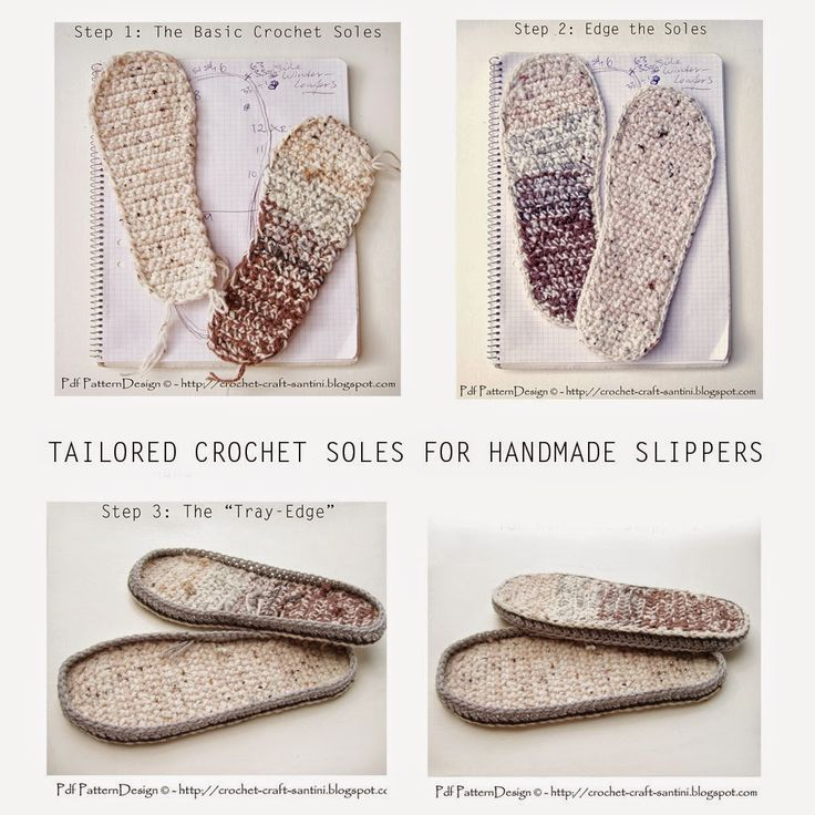 TAILORED CROCHET SOLES FOR SLIPPERS