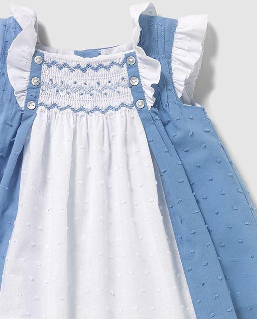 Vestido de bebé niña Dulces bicolor con smock
