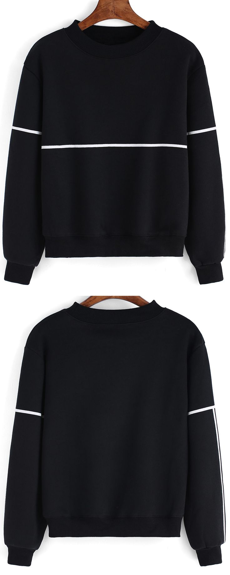 Striped Thicken Black Sweatshirt. Cotton material and round neck. Decent quality with $10.99 only.