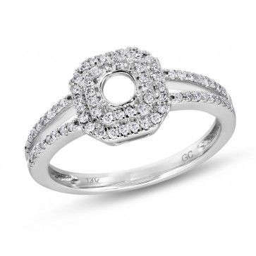 Halo Collection, 14k White Gold Round SI Diamond Semi Mounting Ring, 1/3 ctw