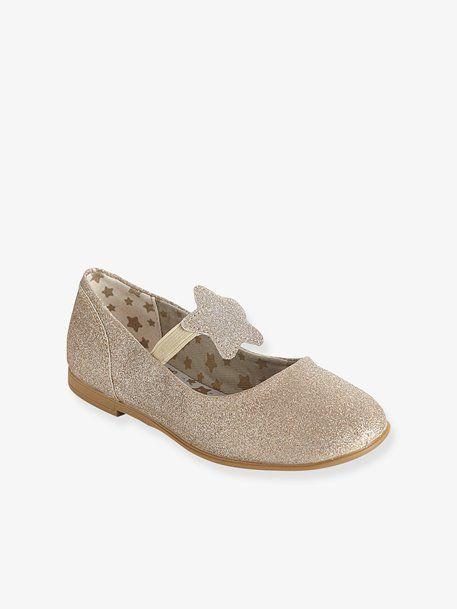 4f04ab80833d Girls  Ballet Pumps - Gold+White glitter - 1