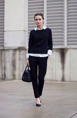丈短ボートネックニットにシャツを合わせて♡ アラサー(30代)女性におすすめのパンツスーツ一覧。