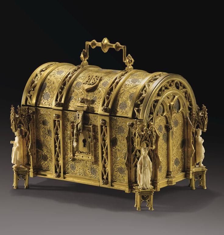 *A FRENCH, 19TH CENTURY, GILT BRONZE AND IVORY CASKET, BY ALPHONSE-GUSTAVE GIROUX, WITH THE KINGS OF FRANCE, SIGNED