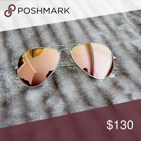 7cd9294a2d Ray-ban Aviators (Rose Gold) Rose gold mirrored lens with silver frame  aviators from Rayban. These are pretty brand new. I don t have …