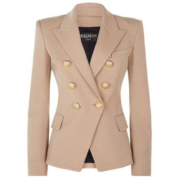Balmain Embossed Button Blazer found on Polyvore featuring outerwear, jackets, blazers, balmain jacket, balmain, tailored jacket, beige blazer and balmain blazer