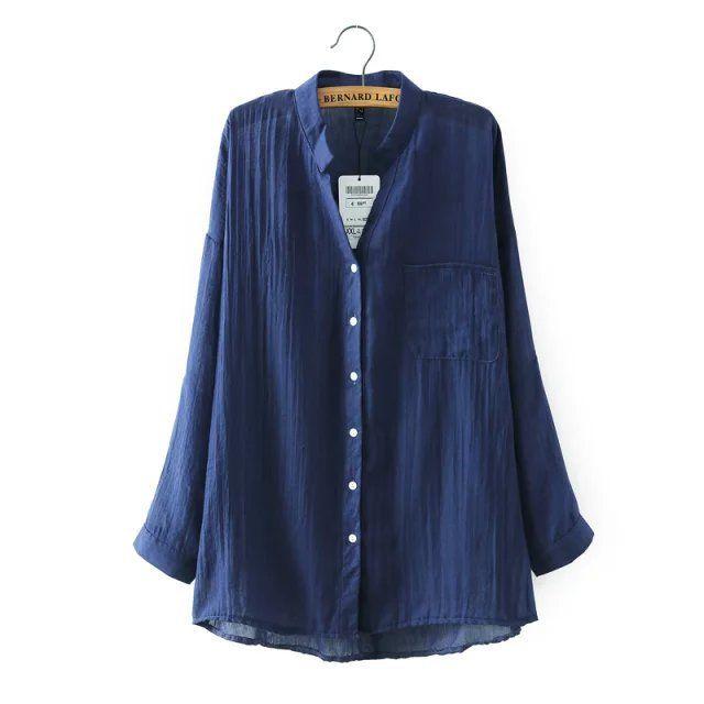 Long-Sleeved Linen Shirt (B0087)     #caterpillar #barnard #lafond #bernardlafond #cottage glaze #groove #moda #shop #shopping #blouse #womenblouse #girlsblouse #shop