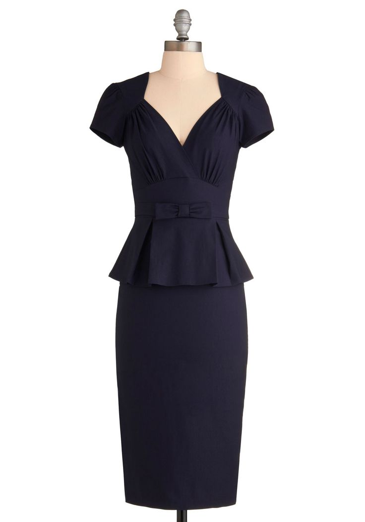 Irresistible Enchantress Dress - ModCloth - With a curve-loving cut, cute cap sleeves, an alluring surplice neckline, a pleated peplum, a saucy back slit, and a bonny bow at the waist, this navy number masterfully blends sweet details with a sizzling silhouette, possibly creating the world's most perfect dress.