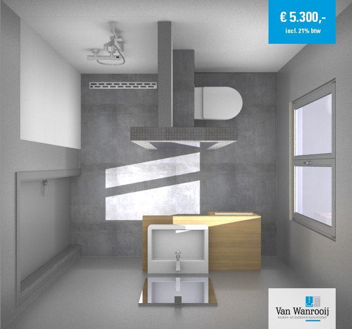 Deze badkamer heeft een afmeting van 2,3 x 2,15 meter en is afgewerkt met een gestucte wand. Dit is een populaire afwerking en zorgt voor een rustige uitstraling. Meer info: http://vanwanrooijtiel.nl/product/moderne-badkamer-gestucte-wand/