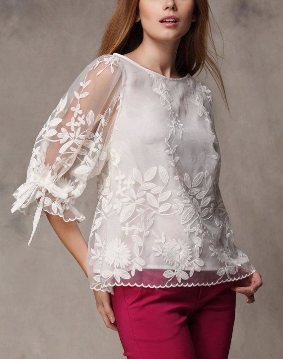 White shirt Chiffon Blouse tulle shirts by happyfamilyjudy on Etsy, $79.99