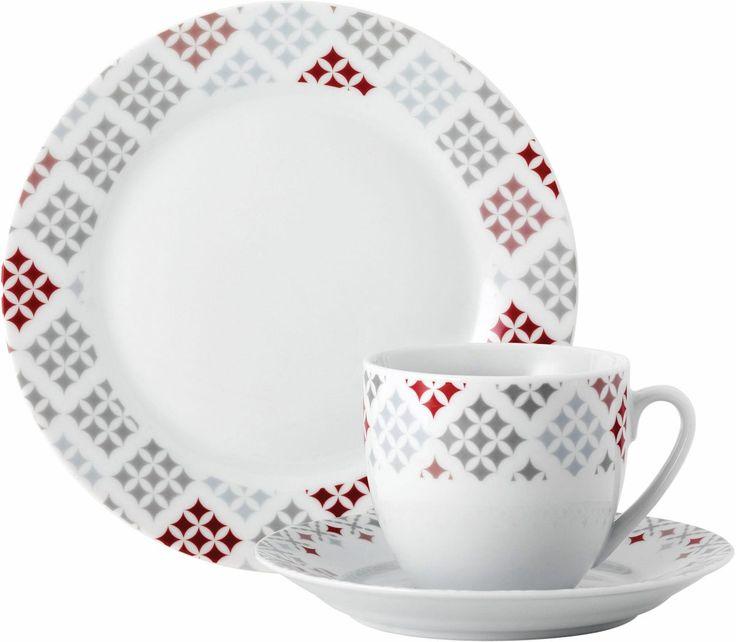 Kaffee-Service »MEDINA RED« weiß, spülmaschinengeeignet, VAN WELL Jetzt bestellen unter: https://moebel.ladendirekt.de/kueche-und-esszimmer/besteck-und-geschirr/geschirr/?uid=09343bef-3f0c-5744-a161-873895201810&utm_source=pinterest&utm_medium=pin&utm_campaign=boards #geschirr #kaffeeservice #kueche #esszimmer #besteck