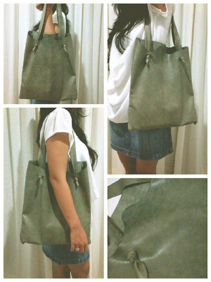 handmade Olive leather raw cut handstitched lamb skin tote bag $83.00 Indonesia