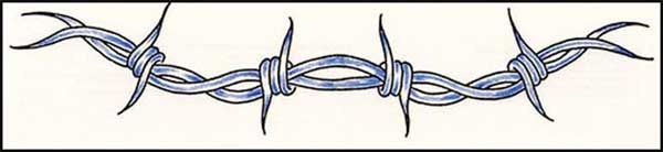 Awesome Blue Ink Barbed Wire Tattoo Design