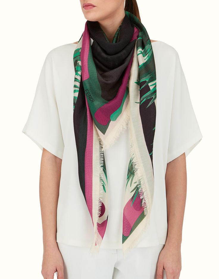 FENDI | BAG BUGS SHAWL in pink tone-on-tone silk and wool
