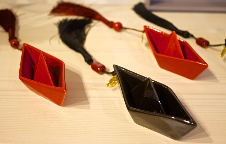 Hand painted enamel paper boat Komboloi, with carefully chosen coloured, ceramic beads, and a beautiful hand made tassel.
