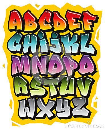 Alphabet Comique De Police De Griffonnage De Graffiti De Bande Dessinée Vecteur…