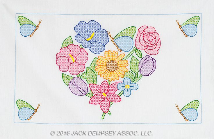 Flowers & Heart Pillowcase Shams | Jack Dempsey Needle Art #JDNA #handembroidery #embroidery #pillowcase