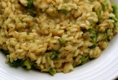 Vegan Dad | Vegan Risotto with Broccoli : veggie broth, white wine, olive oil, margarine, shallot, garlic, salt, freshly ground pepper, arborio rice, small broccoli florets (or just chopped) - 1/4 cup nutritional yeast, margarine