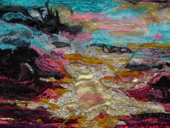 Staiway naar de hemel geïnspireerd door Song van Led Zeppelin.  Dit is een zeer opvallende stuk beeltenis van een trap naar de hemel als geïnspireerd door het nummer van Led Zeppelin. Reflecterende licht wordt weergegeven aan de vorming van een traject over een donkere Oceaan aan de hemelse ruimte verlicht in de wolken. Dit is een uiterst rijke texturen stuk.  Grootte 18ins x 32ins. Kleur zwart roze paars goud rood geel.  Staiway naar de hemel is een oorspronkelijk kunstwerk handgemaakt door…