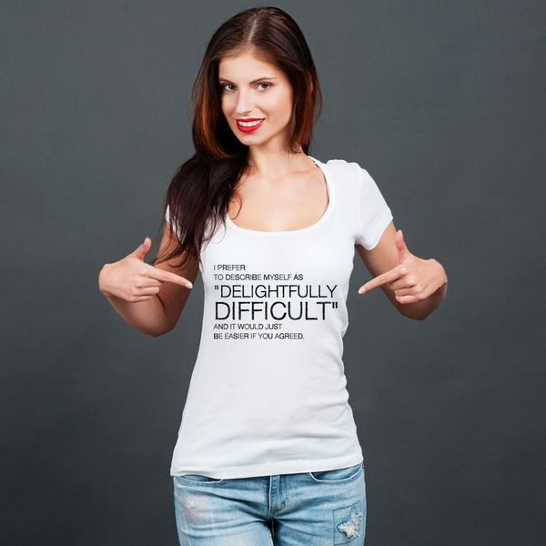 Delightfully Difficult- koszulka damska z dekoltem w artiglo na DaWanda.com