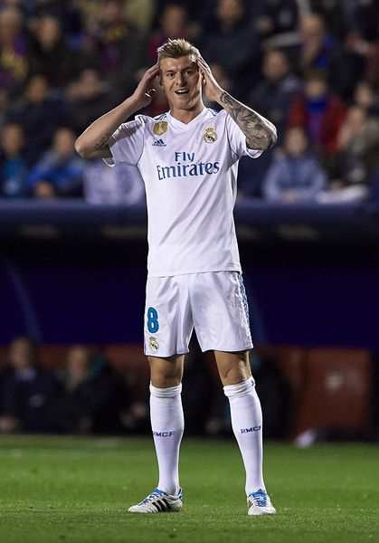 Toni Kroos of Real Madrid reacts during the La Liga match between Levante and Real Madrid at Ciutat de Valencia on February 3, 2018 in Valencia, Spain.