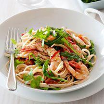 Chilli garlic prawn linguine