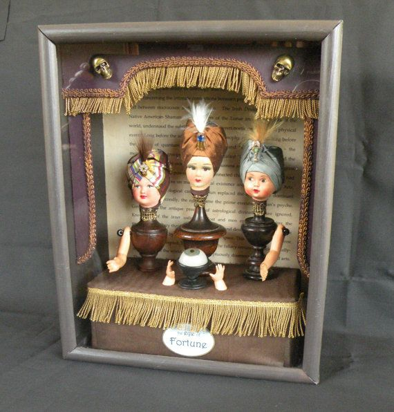 Curiosity Box, Vintage doll parts, glass eye, Eye of Fortune, Cabinet of curiosities on Etsy, $276.11