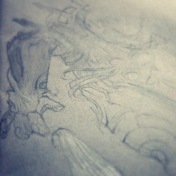 Sketchbook WIP, sort of a cosmonaut. - @rafsarmento- #webstagram