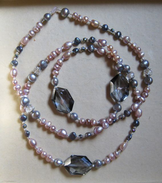 Necklace for a special event - pink and gray pearls, silver and crystals