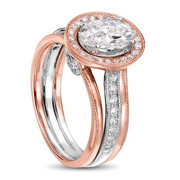 18ct rose and white gold engagement ring with oval diamond