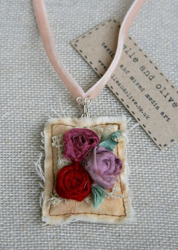 Textile Pendant Necklace Sari SIlk Roses Lilac by belleandolive