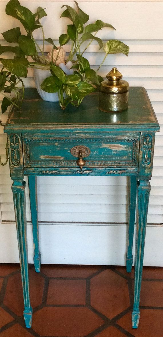 Shabby Chic Blue Vintage Nightstand. by RevisitedConcepts on Etsy
