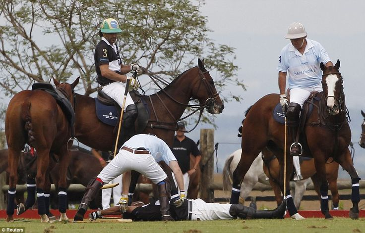 Prince Harry saves life of unconscious rival after polo match collision during a charity match in Campinas, Brazil last month