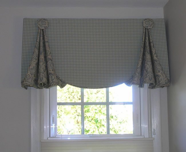 Window valances how to make window valances from a shower for Custom window treatments