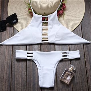 2 Piece Bikini  Hand Made  High Neck Halter  Cheeky Brazilian Bottoms  Cut Out Detailing  Solid White  *No Returns on Swimwear* ----Fits True To