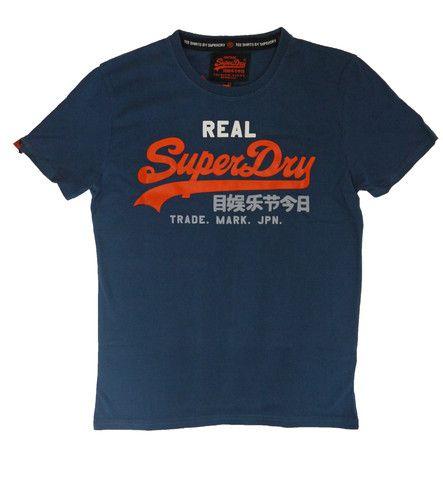 Superdry Mens Vintage Logo Tri-Colour Entry Tee - Blue Bottle – Stocking Filler..